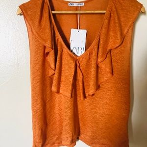 Zara Ruffled Linen top earth orange sz, M